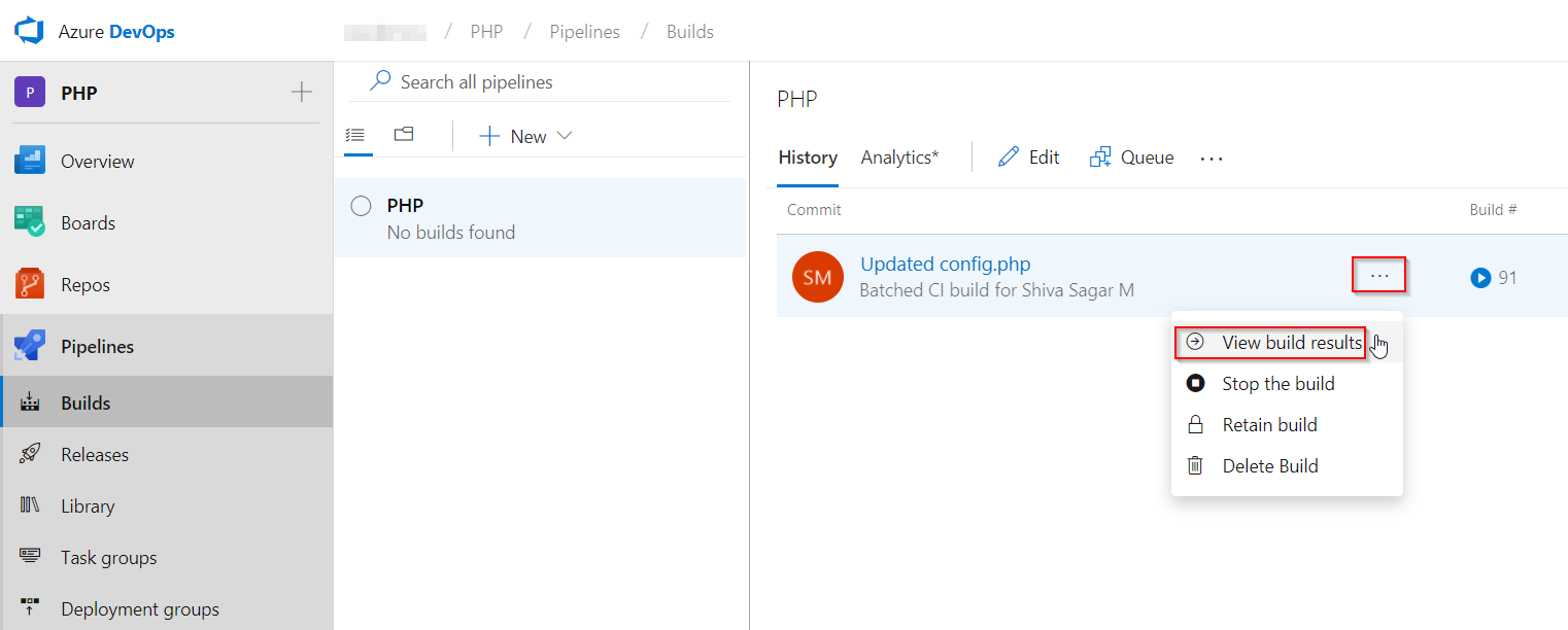 Deploy PHP application to Azure App Service using Azure