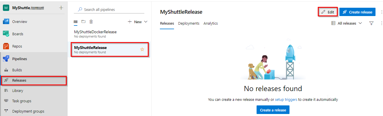Edit MyShuttle Release Definition